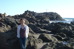 The rocks were covered with tiny mussels, barnacles, and crabs