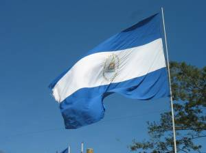 The Nicaraguan flag flying at the Malecon on the edge of Lake Managua