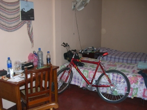 My new bike in the room at the Residencia.  A little cluttered, but worth it!