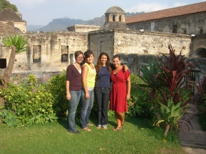 Fulbright Grantees Adriana, Dana, Michelle and I at a convent in Antigua