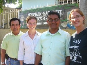 Don Luis, Don Miguel, Sarah, and I at the Norwalk Nagarote sister city office.