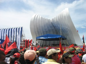 Flags fly as Daniel Ortega speaks, but the crowd was calm and composed.