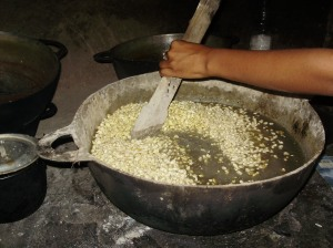 Mixing in the corn and ash at Melaña's house, also in La Rinconada.