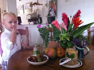 Last week we celebrated my birthday with lots of tropical flowers, fruits, and friends.