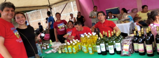 A colorful array of locally produced products in Achuapa, Nicaragua from sesame oil to carao syrup to nancite wine!